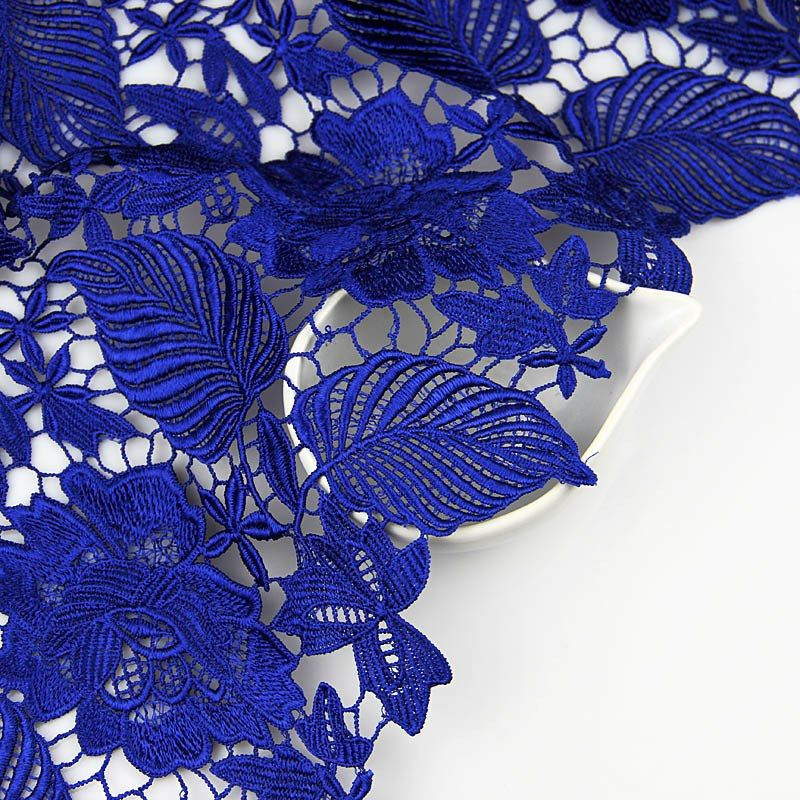 130cm Sapphire Chemical Floral Lace Fabric