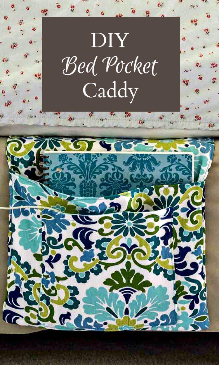 DIY Bed Pocket Caddy | kostenlose Muster, Taschen nähen und Minimalismus