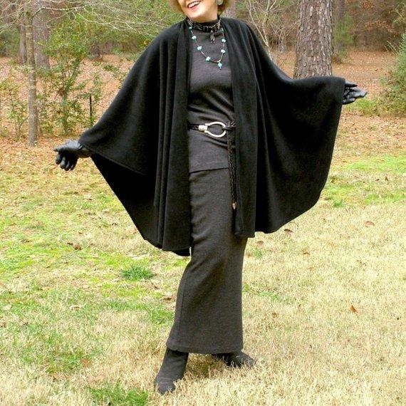 Black Anti Pill Polyester Fleece Cape, Shawl, Wrap, Blanket Scarf or