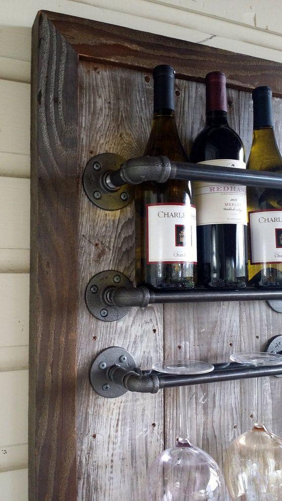 Vinos y copas rustico maderas estantes de vino - Estanterias de vino ...