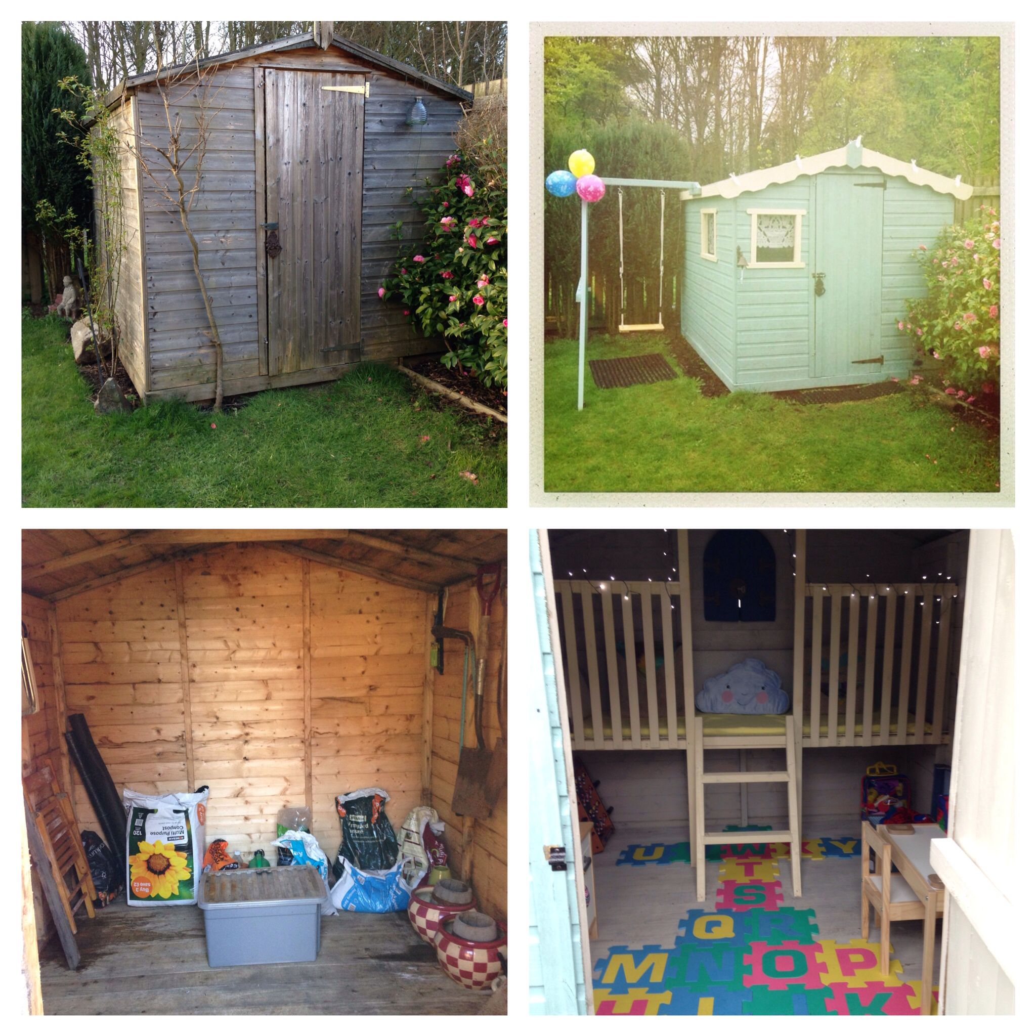 our sad old shed made into a fabulous playhouse for our kids