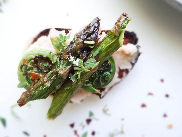 Never quite sure how to cook with fiddleheads? May we suggest this Fiddlehead & Asparagus Crostini from Sunday Morning Banana Pancakes?