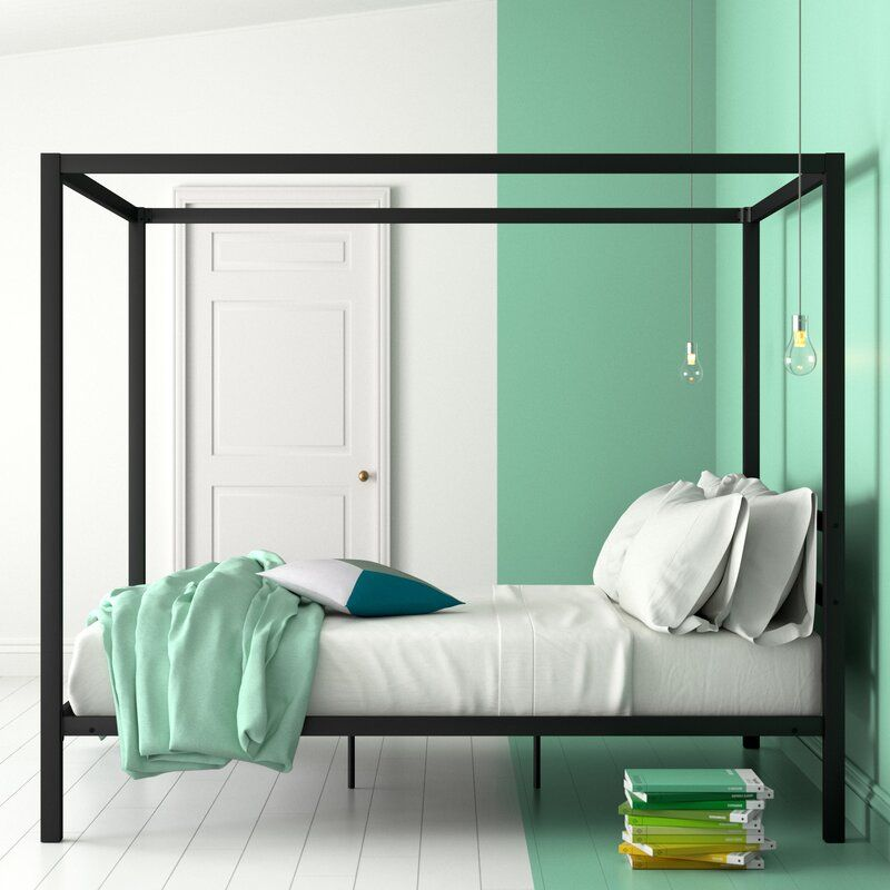 Dubay Canopy Bed Upholstered Queen Bed Frame Contemporary Platform Bed Bed