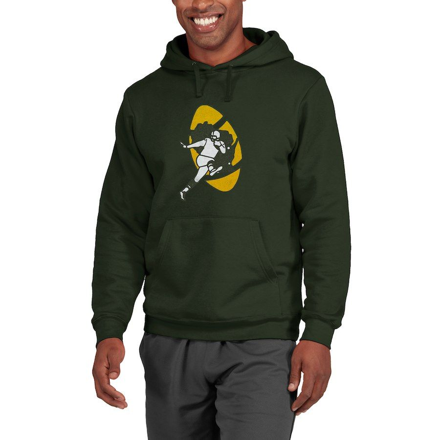 Green Bay Packers Nfl Pro Line Throwback Logo Pullover Hoodie Sweatshirt Green Sueteres Con Capucha Green Bay Packers