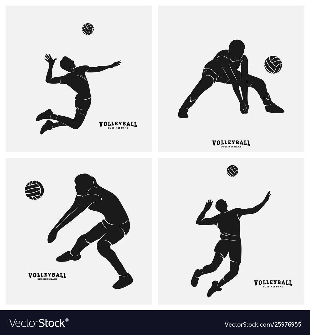 Set Volleyball Player Silhouette Of Vector Image On Vectorstock Volleyball Players Volleyball Designs Volleyball