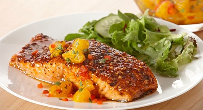 Cool and fruity Orange Salsa complements the sweet n smoky seasoned salmon fillets.
