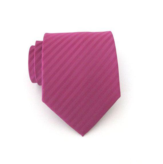 Mens Ties Men S Tie Raspberry Fuchsia Pink Stripes Necktie Wedding