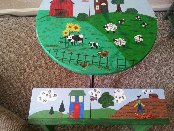 An old table and homemade bench.  Just right for my grandkids.