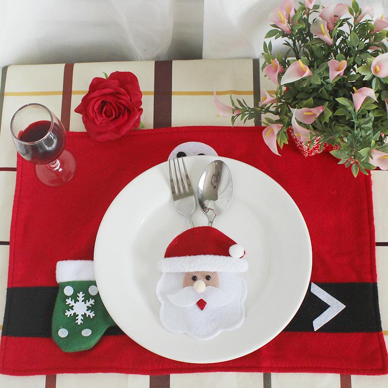 Holders Santa Clause Snowman Elk Fork Knife Pockets Dinner Table Decor Home Decoration Christmas Table Decorations Christmas Tableware Dinner Table Decor