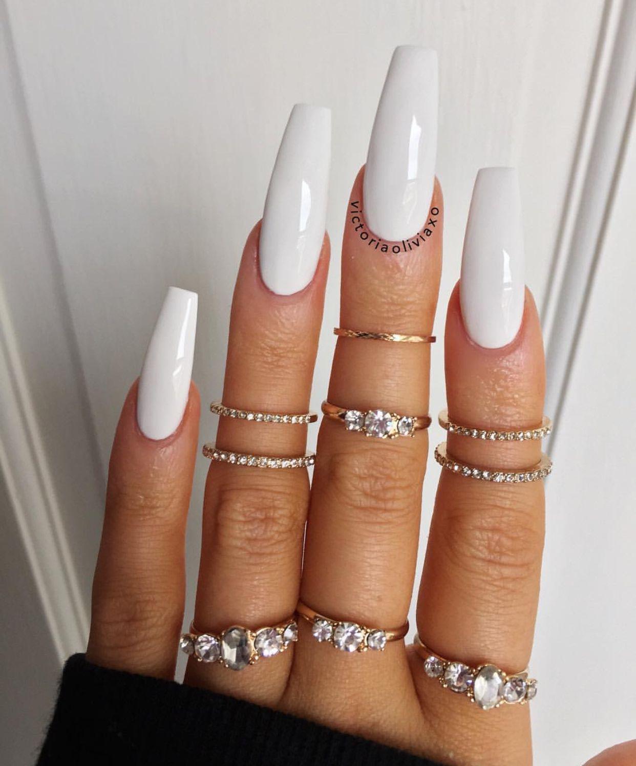 Long White Nails : white, nails, Lamiece, Nicole, NAILS, White, Nails,, Coffin, Nails, Long,, Acrylic