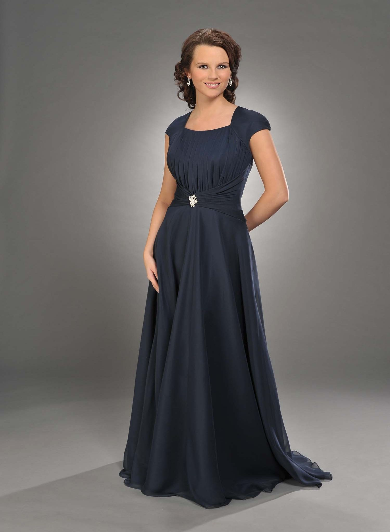 Square blue chiffon bridesmaid dresses with sleeves bd click