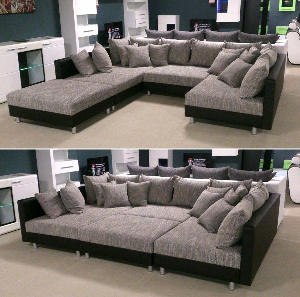 Wohnlandschaft Claudia Xxl Ecksofa Couch Sofa Mit Hocker Schwarz Und Graubeige In Mobel Wo Furniture Design Living Room Furniture Sofa Set Home Theater Rooms