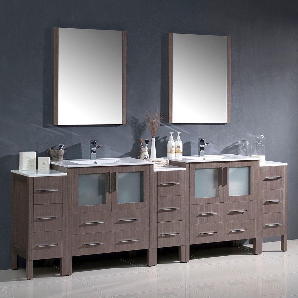 """Fresca Torino 96"""" Gray Oak Modern Double Sink Bathroom Vanity w/ 3 Side Cabinets & Integrated Sinks"""