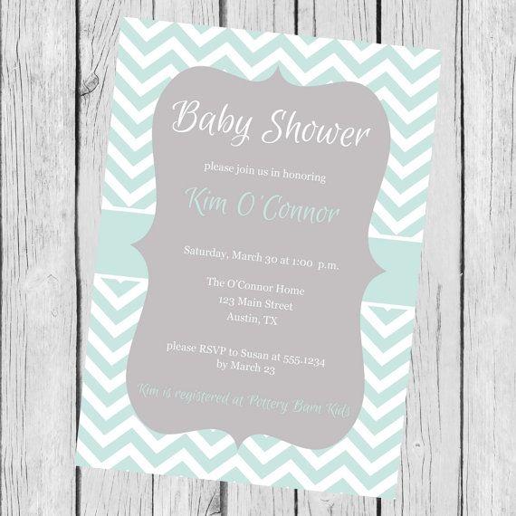 blue and white baby shower invitation, chevron baby shower, Einladungsentwurf
