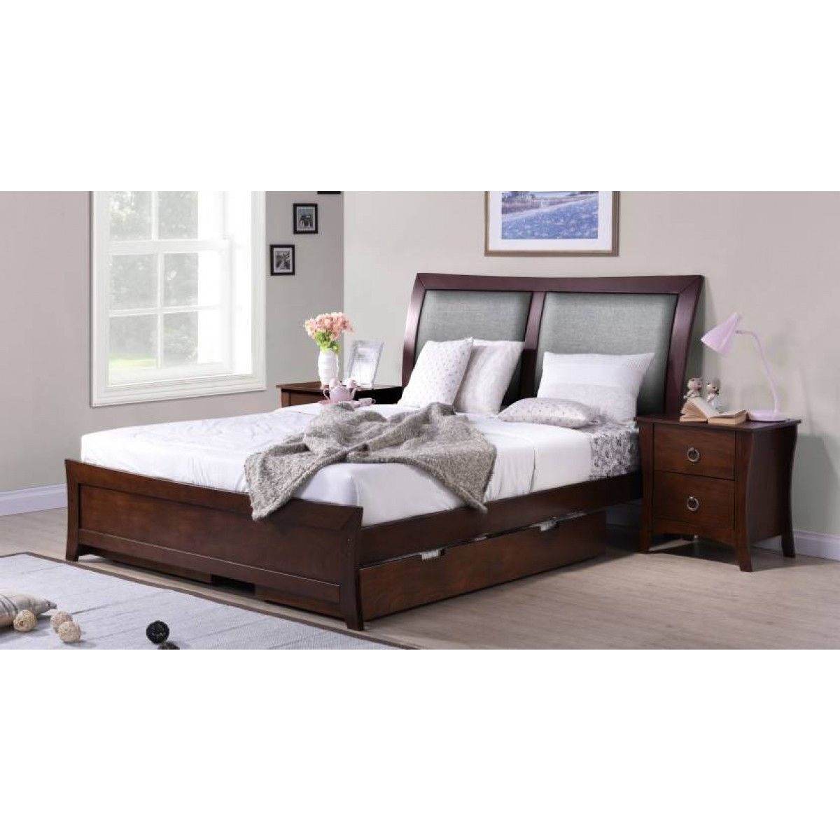 Wichita Wooden King Size Bed Finish Color Dark Walnut King