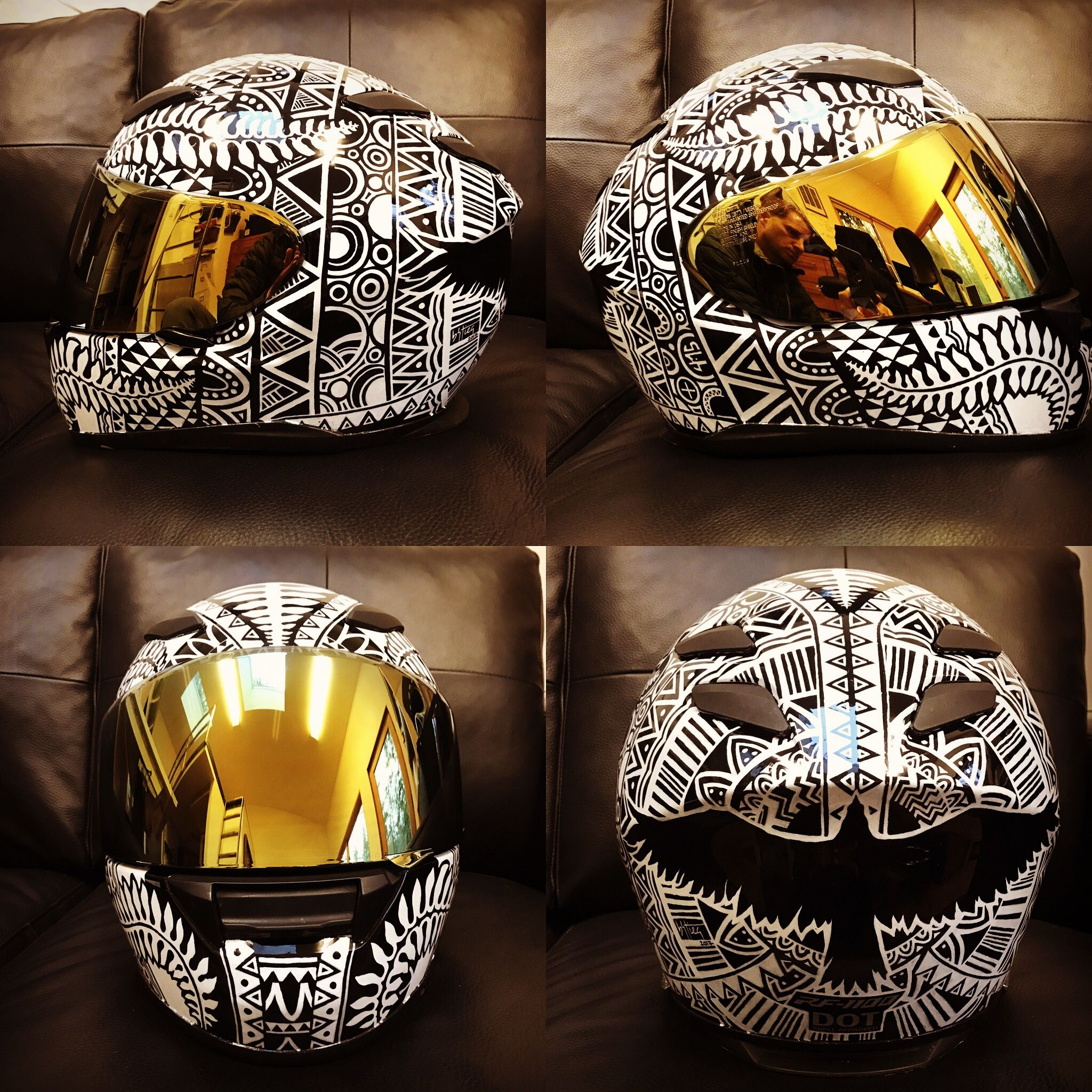 Helmet black and white design. Custom motorcycle helmet by