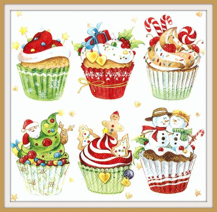 Christmas 4 Lunch Paper Napkins for Decoupage Party Table Craft Vintage Muffins