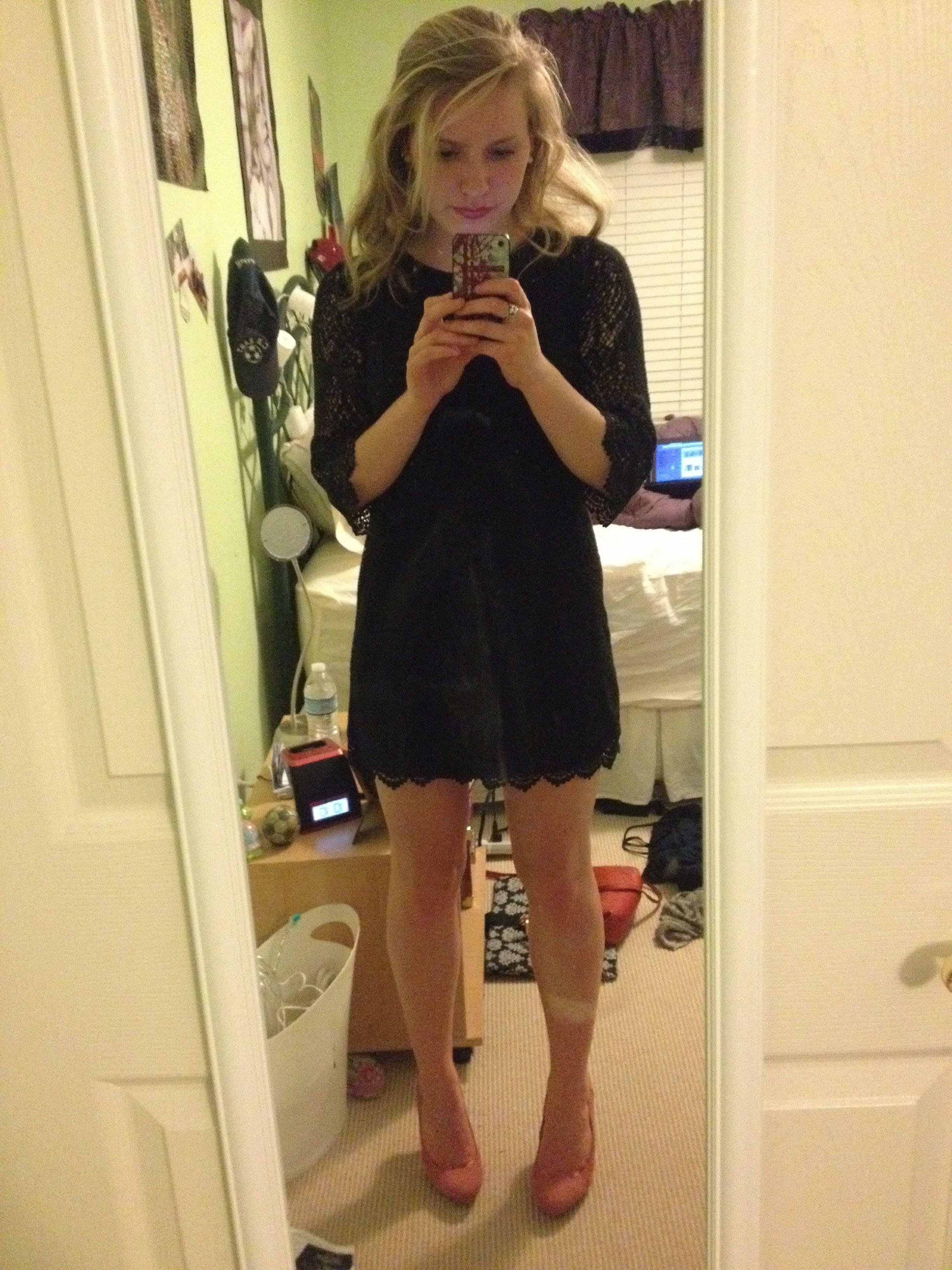 Black dress with light pink heels