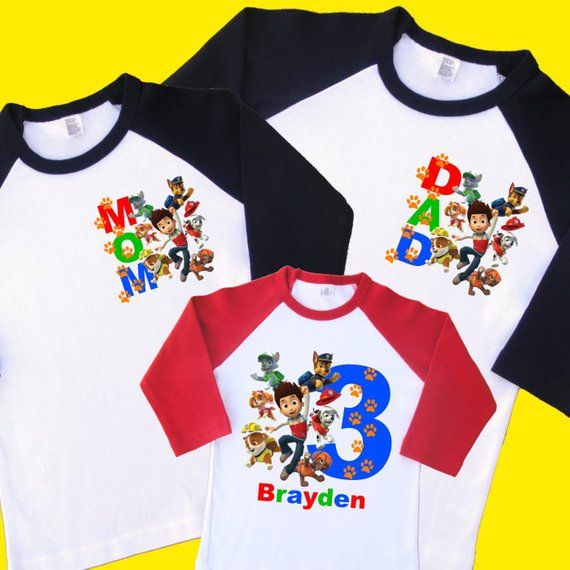 Paw Patrol Birthday Shirts Set Of 3 Family Raglans 1 Toddler And 2 Adult Sizes Up To XL