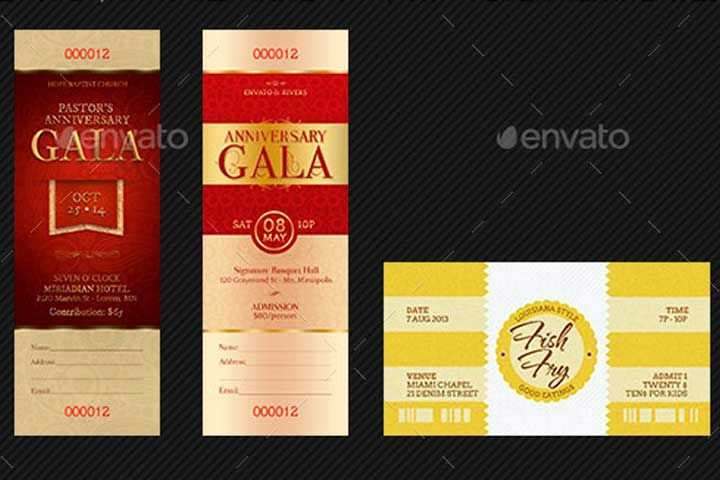 Event Ticket Template Bundle u2013 Volume 8 is geared for the Pastor - banquet ticket template