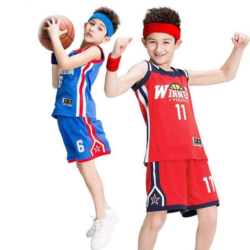 Youth Retro Basketball Jerseys Custom Kids Basketball Clothes Breathable Team Sport Tracksuit Sleeveless Basketball Clothes Kids Basketball Basketball Workouts