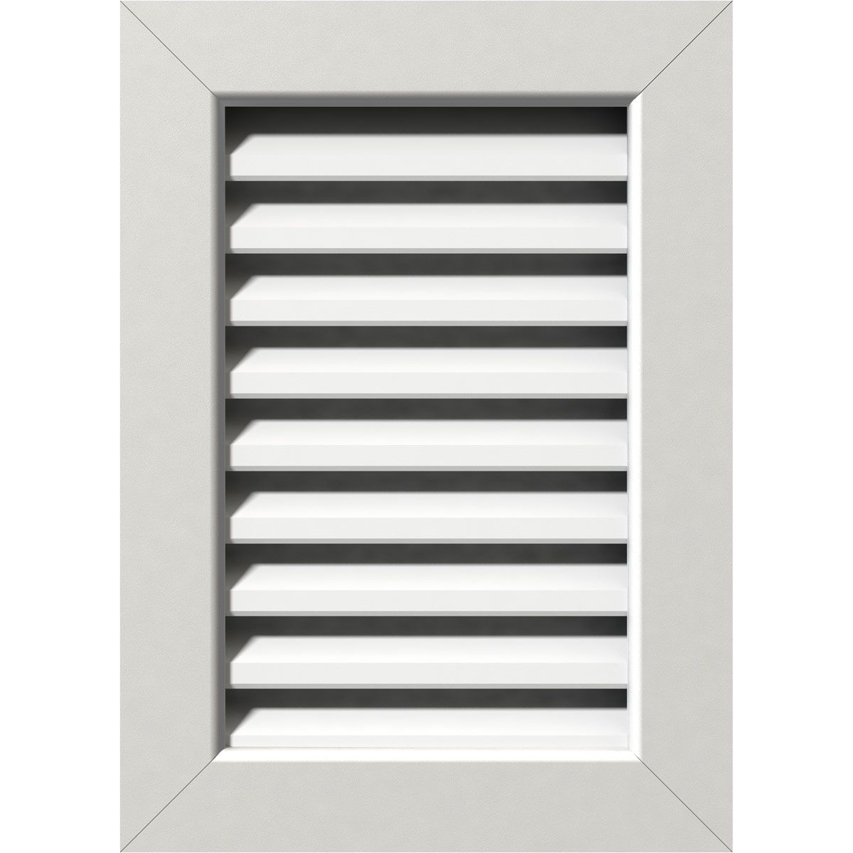 12 Inch W X 22 Inch H Vertical Gable Vent 17 Inch W X 27 Inch H Frame Size Functional Pvc Gable Vent W 1 Inch X 4 Inch Flat Trim Frame Gable Vents Ekena Millwork Frame