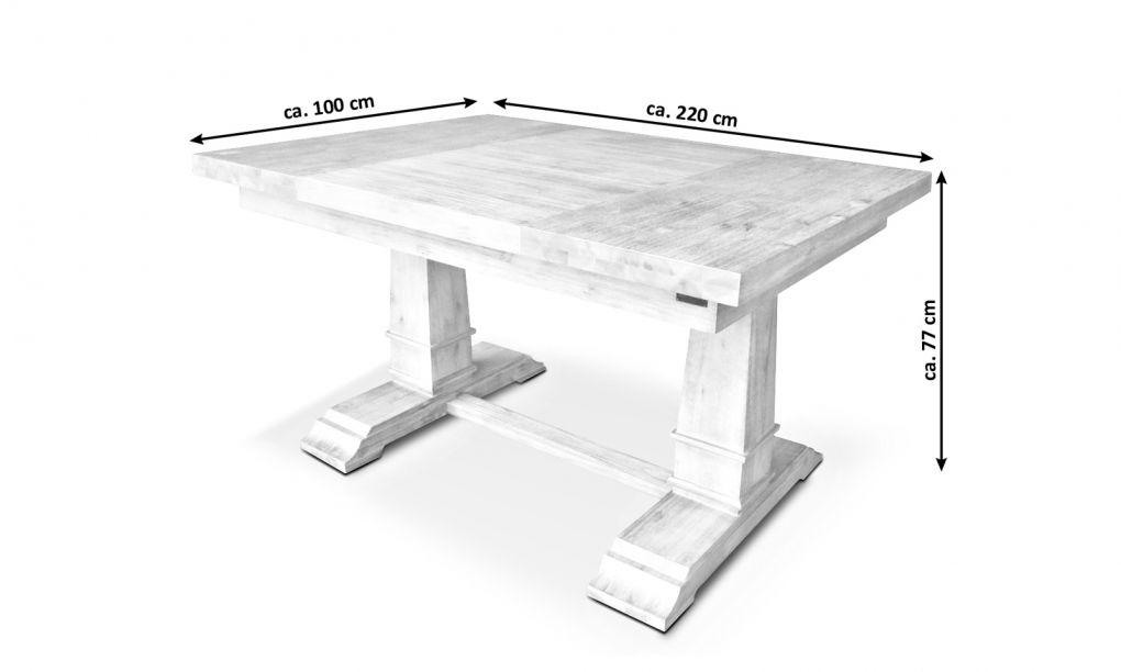 SALE Esstisch Holz 220 x 100 cm weiß Akazie massiv