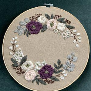 Pdf pattern+ video tutorial. Peach blossom and blue hydrangea floral wreath/ digital tutorial floral diy hand embroidery Digital Download