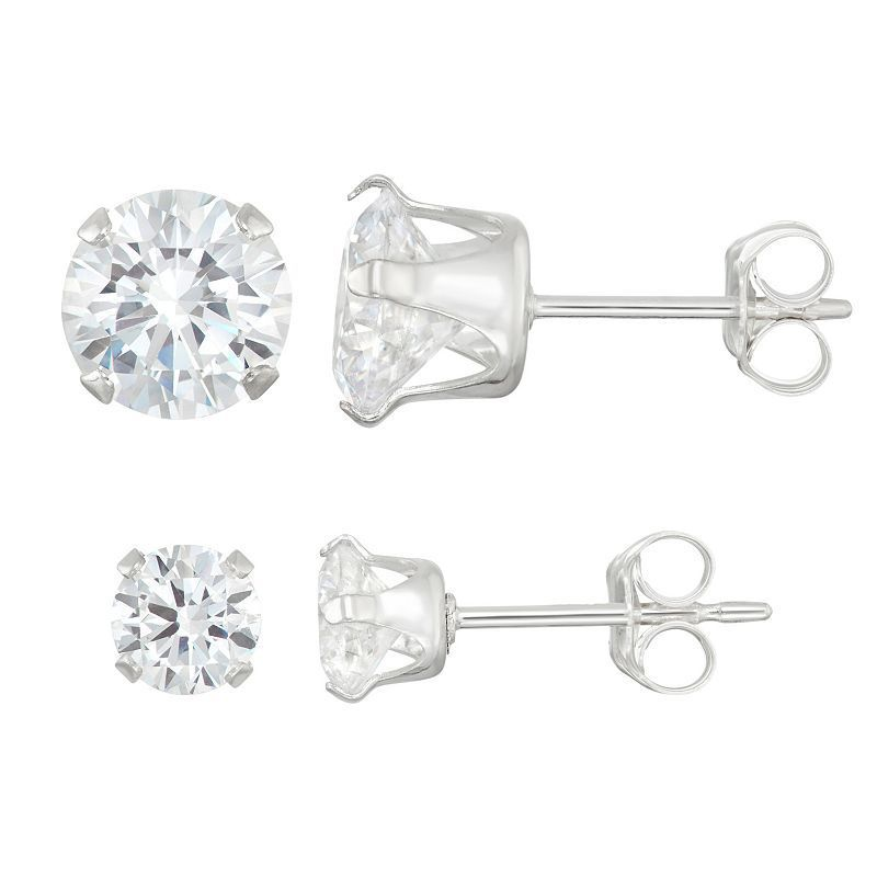 Journee Collection Sterling Silver Birthstone Cubic Zirconia Stud Earring Set, Women's,