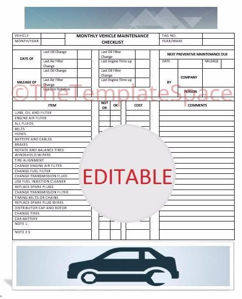 Editable Monthly Vehicle Maintenance Checklist; Printable