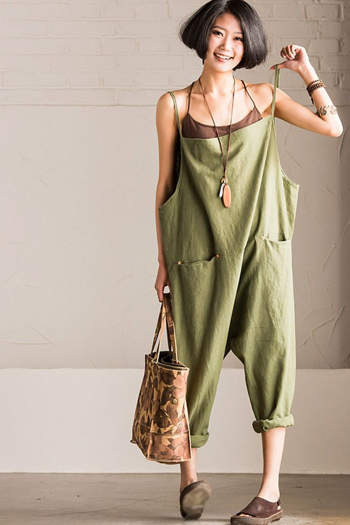 4b5007c1c4d1 Causel Cotton Linen Loose Overalls Big Pocket Trousers Women Clothes ...