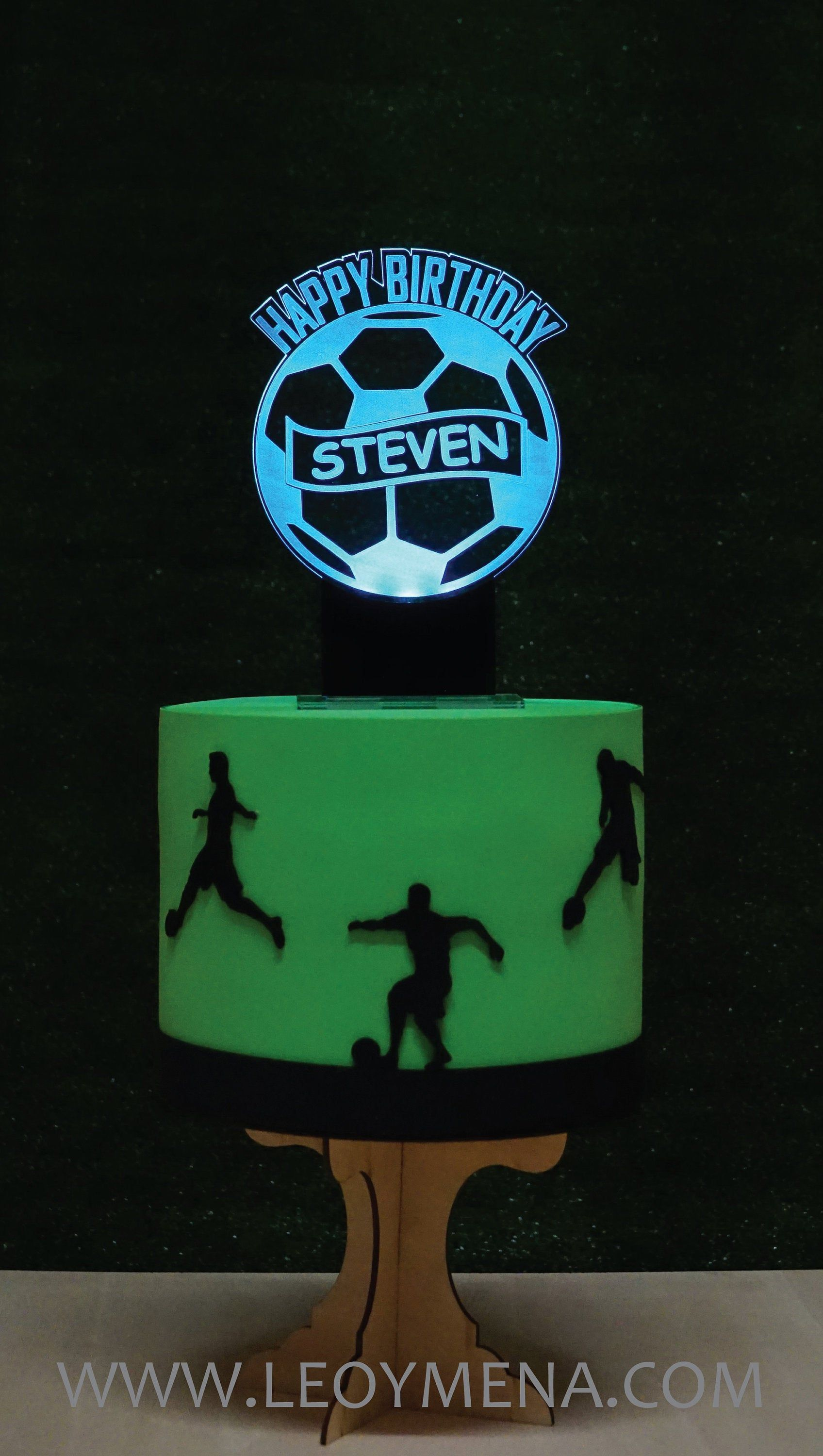 Football cake topper lighted led personalized spelled in