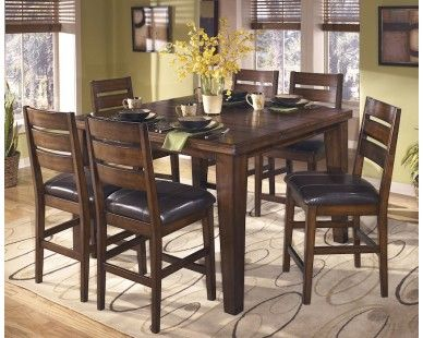 9 Piece Rustic Counter Height Set   Dark Brown   Sam Levitz Furniture