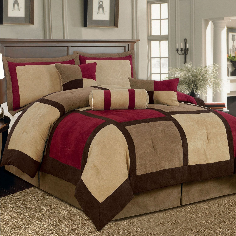 King Size 7-Piece Bed Bag Patchwork Comforter Set in Brown