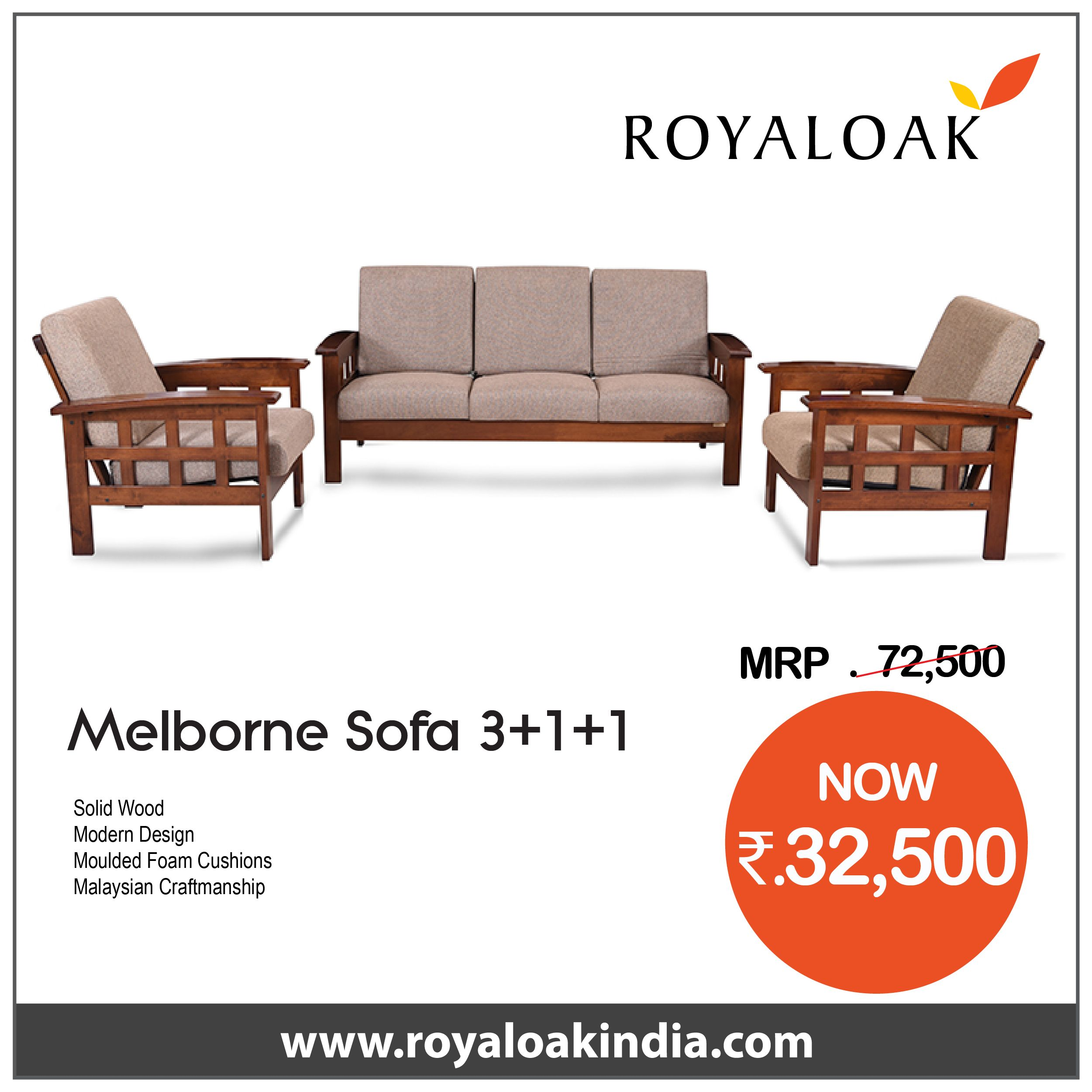 Buy Royaloak Melborne 3 1 1 Solidwood Sofa Set Brown By Royaloak At The Lowest Price In India Buy Sofa Sets Sofas Living From Royaloak At The Lowest Price Wooden Sofa