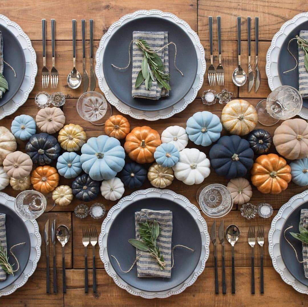 Beautiful Colored Pumpkin Centerpiece Tablescape Idea For