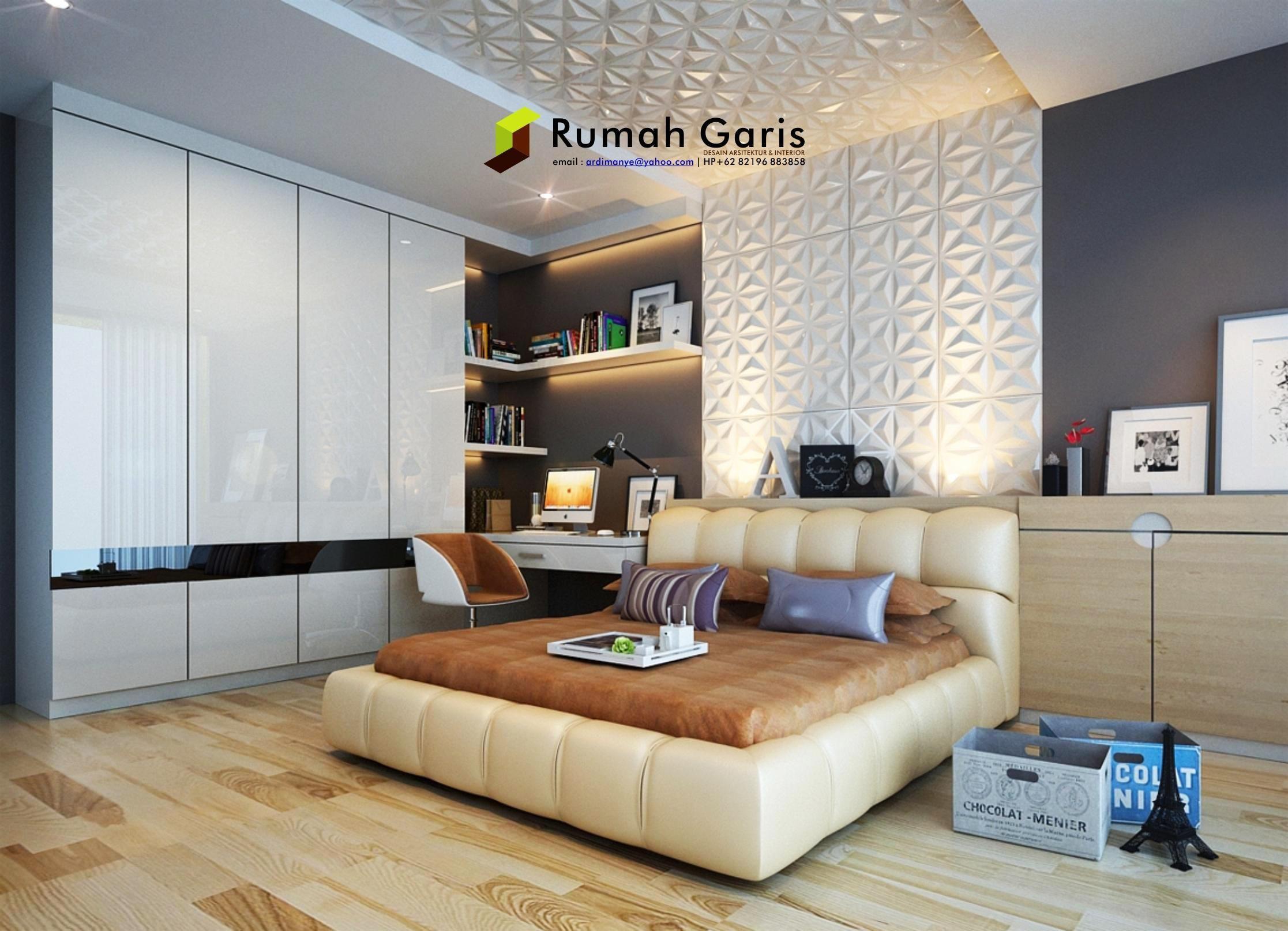 Design interior kamar minimalis - Desain Interior Makassar Kamar Tidur Anak Remaja 3d Render By Rumah Garis Studio Arsitektur Interior