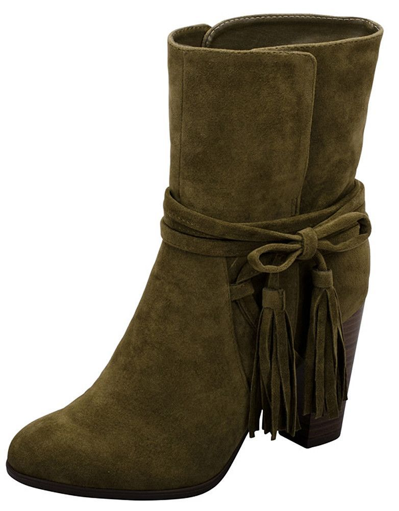 Women's Wrap Around Western Tassel Chunky Stacked Heel Ankle Bootie