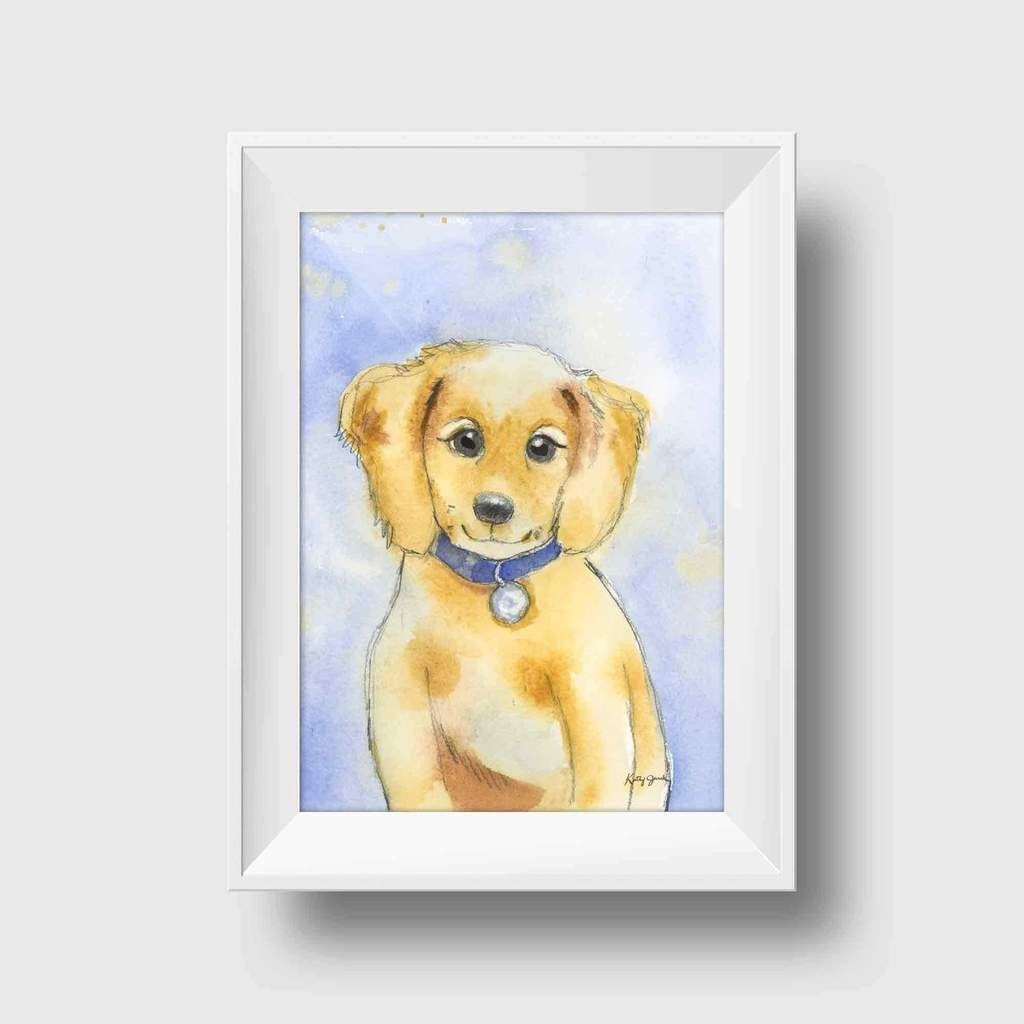 Golden Retriever/Yellow Lab Puppy Art Print | Kids wall decor, Color ...