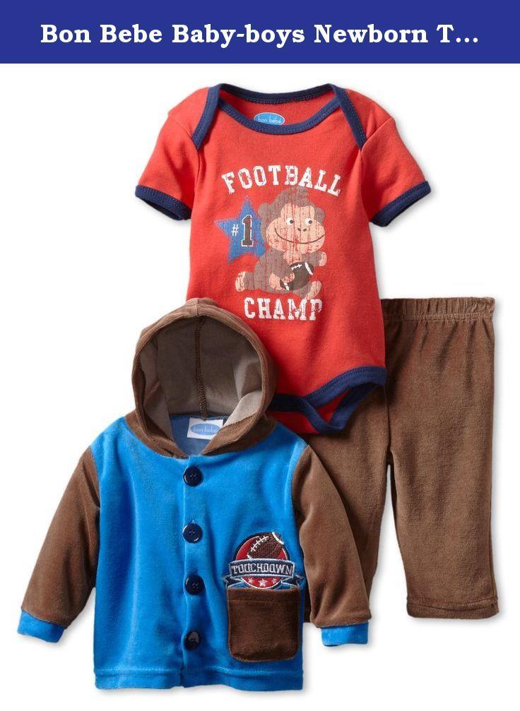 24b991fa51d Bon Bebe Baby-boys Newborn Touchdown 3 Piece Velour Pant Set, Blue/Red