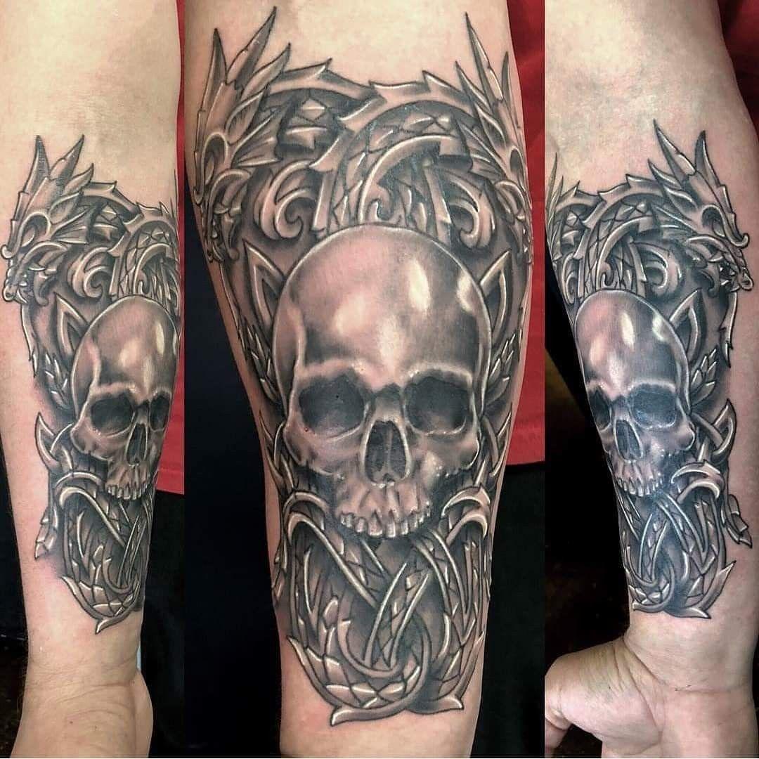 Nordic Dragons With Skull Skull Sleeve Tattoos Tattoos Skull Sleeve
