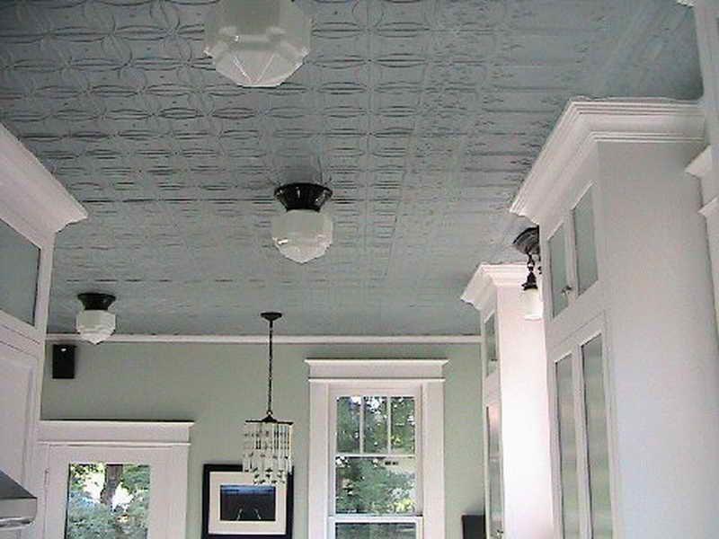 Light Grey Pressed Tin Ceiling With White Trim Tin Ceiling Tin