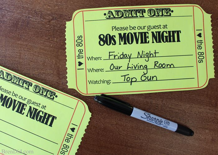 80s Family Moive Night (Free Printable Invitation) Ticket - free printable movie ticket invitations