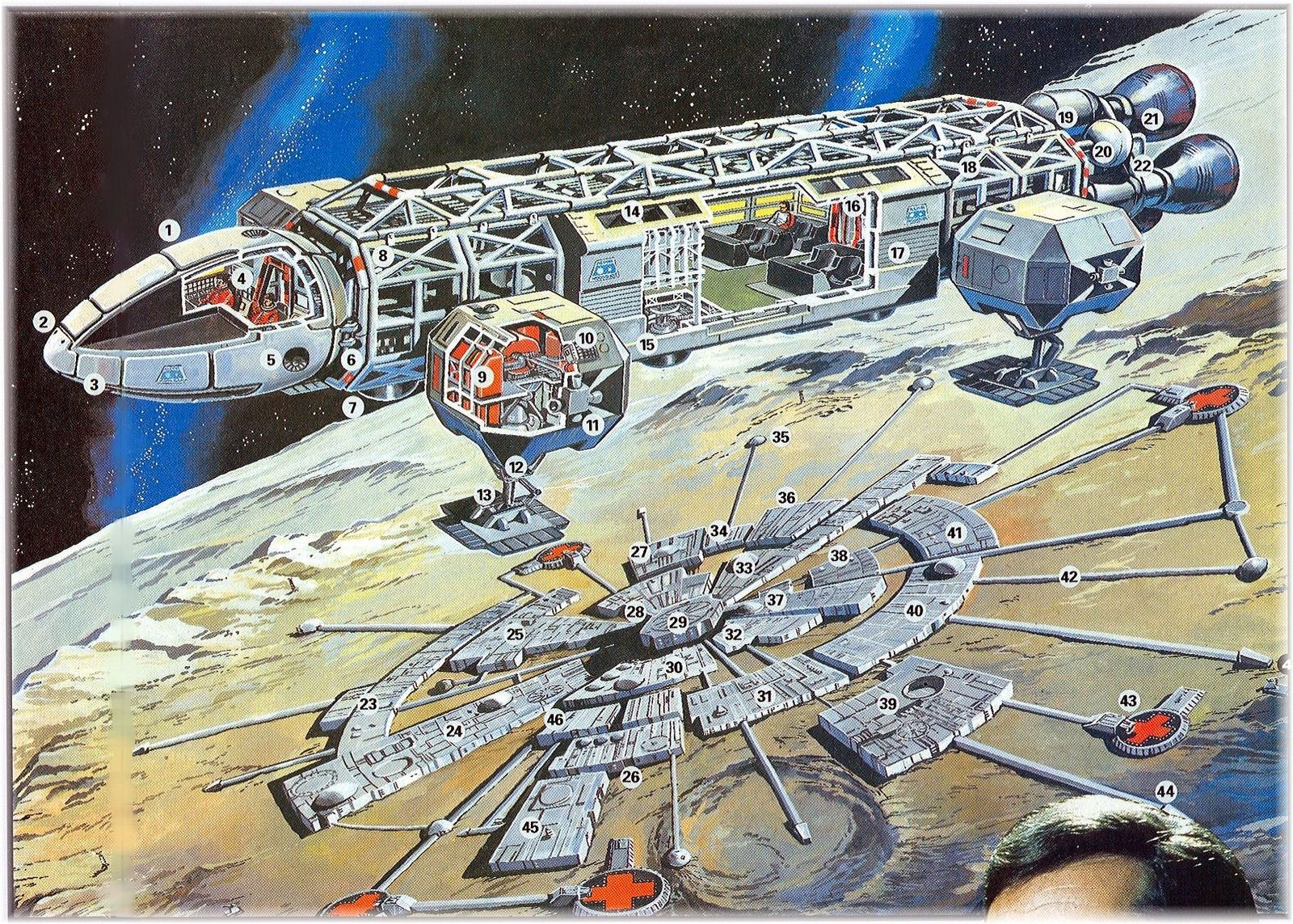 Space 1999 Moonbase Alpha map and Eagle cutaway diagram  Space