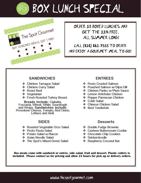 Boxed Lunch Special Menu Lunch Catering Boxed Lunch Catering Catering Ideas Food