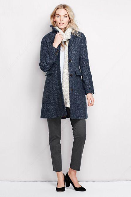 4495347209e5 Women's Tweed Wool Car Coat from Lands' End | winter | Coat, Coats ...
