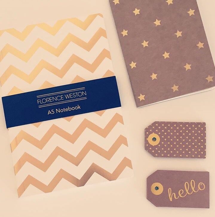 Gold and Kraft notebook and hello tags. Stationery. Stationary. Addict. Hello. Tags. From Kate's craft box.