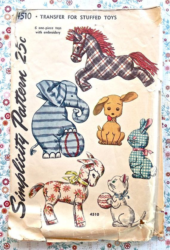 Vintage 1950s Stuffed Animal Toy Pattern With Horse Elephant Cat