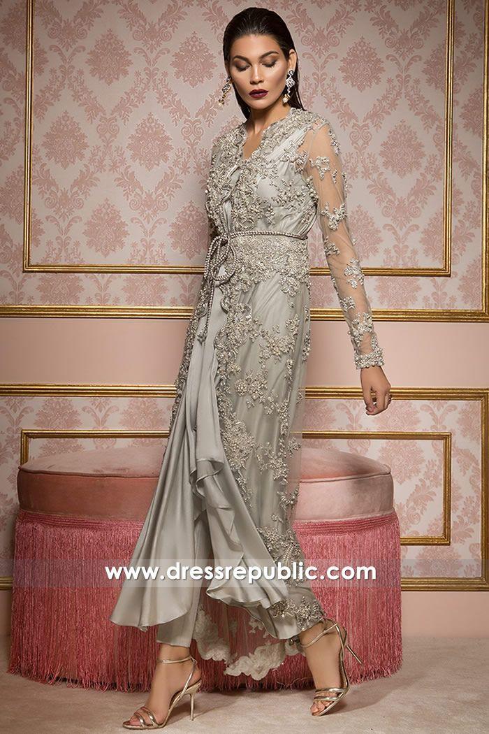 Grey Silver Manteca Women Wedding Guest Dresses Indian Wedding Guest Dress Indian Designer Outfits