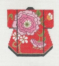 LEE Petite Kimono Pink Blossoms handpainted Needlepoint Canvas Ornament